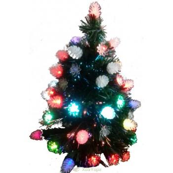 Ель зеленая 0,9 м с лампами-шишками, светодиодная оптоволоконная (6419-3-90)