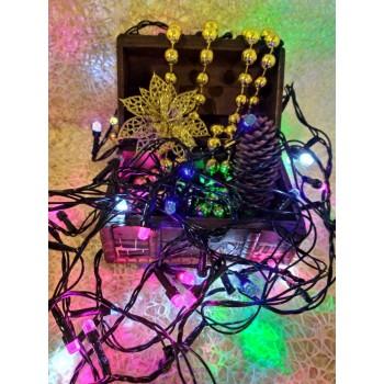 Гирлянда электрическая LED 80, светодиодная, с линзой, черный  провод (SH139)