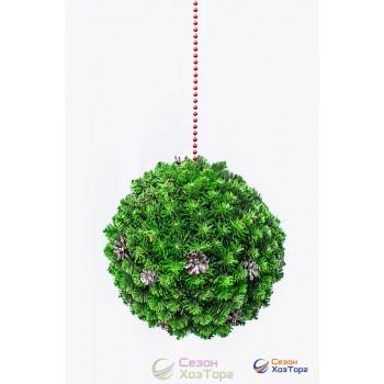 Шар европейский с шишками светло-зеленый из декоративной хвои Ø85см