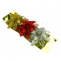 """Новогоднее украшение """"Цветок блестящий"""", пластик, набор 3 шт (SH188)"""