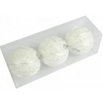 Новогодние шары белые Ø 80мм из пены, набор 3 шт (SH195)