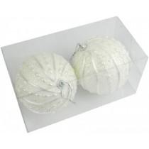 Новогодние шары белые Ø100мм из пены, набор 2 шт (SH196)