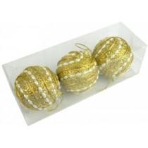 Новогодние шары золотые Ø80мм из пены, набор 3 шт (SH197)