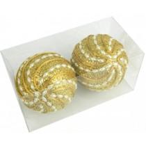 Новогодние шары золотые Ø100мм из пены, набор 2 шт (SH198)