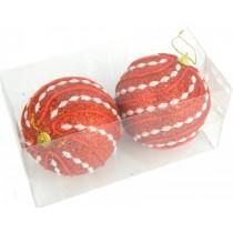 Новогодние шары красные Ø100мм из пены, набор 2 шт (SH200)