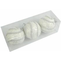 Новогодние шары белые с тесьмой Ø80мм из пены, набор 3 шт (SH201)