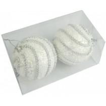 Новогодние шары белые с тесьмой Ø100мм из пены, набор 2 шт (SH202)