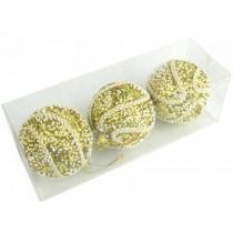 Новогодние шары золотые с тесьмой Ø80мм из пены, набор 3 шт (SH203)