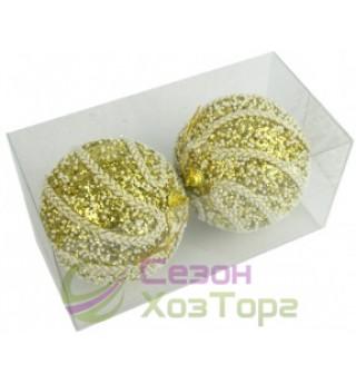 Новогодние шары золотые с тесьмой Ø100мм из пены, набор 2 шт (SH204)