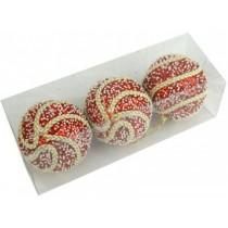 Новогодние шары красные с тесьмой Ø80мм из пены, набор 3 шт (SH205)