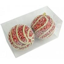 Новогодние шары красные с тесьмой Ø100мм из пены, набор 2 шт (SH206)