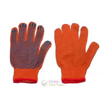 Перчатки х/б с ПВХ точкой оранжевые