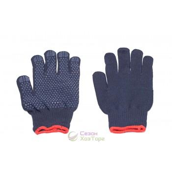 Перчатки рабочие с ПВХ точкой синие