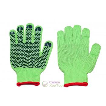 Перчатки рабочие с ПВХ точкой зеленые