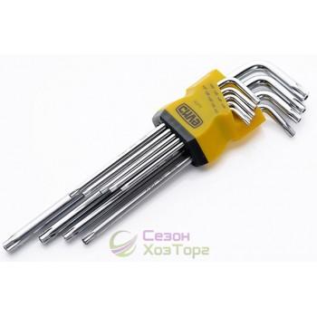 Набор торцевых ключей TORX длинных CrV 9шт (№202511)