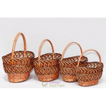 Плетеные корзины из лозы (набор из 4 шт)